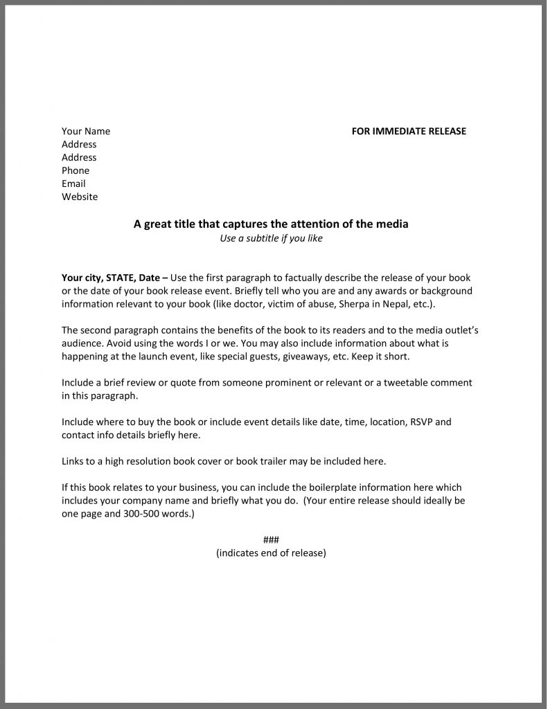 How to write a press release for a book the happy self for Press release template for event